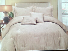 Raymond Waites GATLIN NEUTRAL WHITE PAISLEY BEIGE TAN KING DUVET COVER SET 300TC