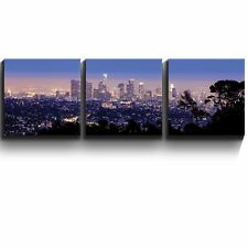 "Los Angeles skyline in evening- Three Gallery Wrapped Printed Piece -16""x16"" x 3"
