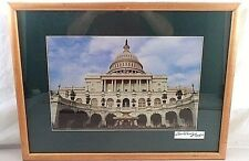 24X19 Framed Signed Photograph US Capitol Building Flag at Half Staff Patriotic