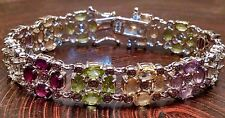 """ADI Sterling Silver Multi Gemstone Bracelet 7"""""""