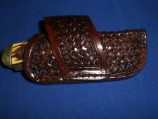 in stock leather knife sheath cross draw TRAPPER case scabbard medium