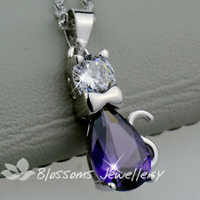 925 Sterling SILVER Amethyst Purple Kitty CAT NECKLACE SWAROVSKI CRYSTAL S1029
