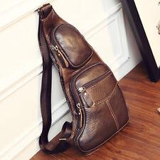 Men's fashion Genuine Leather Chest Bag Tactical  Shoulder Messenger Pack