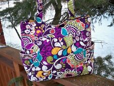 VERA BRADLEY Pleated Tote Bag Large Purse Plum Crazy Shopping Travel College