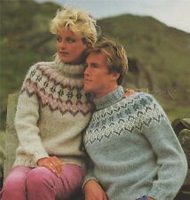 Ladies & Mens Nordic Sweater Knitting Pattern : 32 34 36 38 40 42 44 inch chest