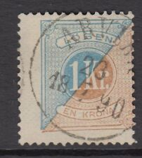 SWEDEN: 1882 POSTAGE DUE 1 krone  blue and bistre perf 13 SG D37b used
