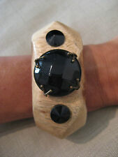 TELA Wood Bangle Large Black Bead Cuff