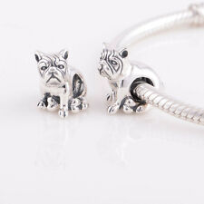 BULLDOG MASTIFF DOG Genuine 925 Sterling Silver Charm Bead Fit European Bracelet