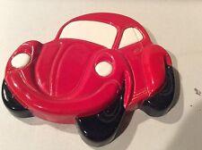 Vintage Ceramic Porcelain Volkswagen Bug Red Wall Hanging