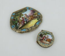 1950's Ristori Renato Painted Enamel & Sterling Silver Hand Carved Powder Cases