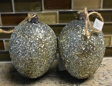 New Pottery Barn SPARKLE GERMAN GLITTER EASTER EGG Ornaments - Set of 2