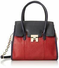 Tommy Hilfiger Top Handle Crossbody Convertible Bag Purse Navy Red Natural $138