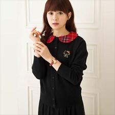 Sanrio Hello Kitty x Lochcarron RED TARTAN Cardigan Knit Sweater Black[610]