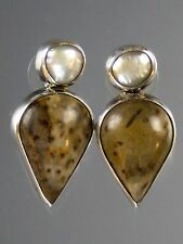 CLEARANCE SALE  - AMY KAHN RUSSELL FOSSILIZED CORAL PEARL CLIP/POST  EARRINGS