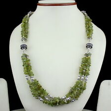 NATURAL CHIPS PERIDOT GEMSTONE  BEADED NECKLACE 64 GRAMS
