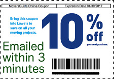 ONE 1 Lowes 10% OFF Printable-Coupons Lowe's Exp. 5/31 Fast Instant Delivery