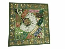 SOFA DECOR TOSS PILLOW SHAM GREEN  VINTAGE PATCHWORK EMBROIDERED CUSHION COVER