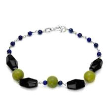 New 11.40 CTW Agate Lapis Lazuli & Onyx Bead 925 Sterling Silver Chain Bracelet