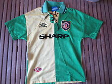VINTAGE Maillot MANCHESTER UNITED UMBRO SHARP shirt Fabien Barthez third 10 12 a