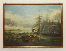 Antique Oil on Canvas Painting of Hunt Scene Late 19th Century Nice!
