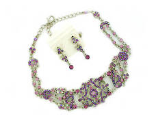 Antique style Victorian Austrian Lavender & pink Crystal choker & earrings