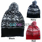 Fair Isle Bobble Beanie Wooly Winter Mens Ladies Knitted Ski Pom Pom Warm Hat