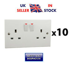 2 Gang Sockets x 10 13amp Twin Double White Switched Wall Sockets