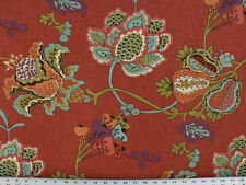 Drapery Upholstery Fabric Linen-Feel Screen Print Flowers & Pods - Persimmon