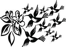 9 Humming birds different sizes with flower vinyl wall decal