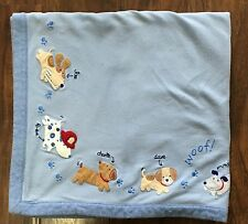 Carters Blue Striped Dog Gone Cute Puppy Woof Baby Blanket Joe Fred Charlie Dave