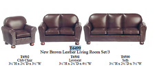 brown Leather Living Room sofa Set dollhouse miniature furniture 1/12 scale new