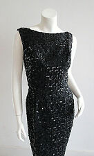 Vintage Marilyn Monroe Classic Black Sequin Lace Formal Wiggle Dress LBD