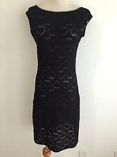 MOSCHINO MARE Made in Italy Cap Sleeve Sheath Dress Semi-Sheer Black Size 36/L