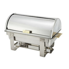 Winco C-5080, 8-Quart Dallas Gold-Accented Stainless Steel Chafer with Roll Top