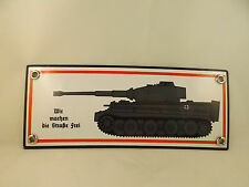 """Wehrmacht  Emailleschild Tiger Tigerpanzer """"Straße frei""""  Wittmann Normandie"""