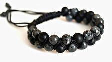 Men's Shungite Labradorite Gemstones Beads Double Shamballa Adjustable Bracelet