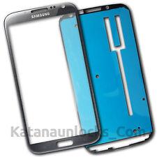 Vitre écran Samsung Galaxy Note 2 N7100 Gris avec Adhésif Front Glass