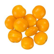 Shiny Orange Opaque Disc Shape Smartie Glass Beads 12x6mm Pack of 10 (B13/2)