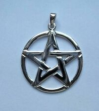 Large Sterling Silver Pentagram Pendant (30mm Diameter)