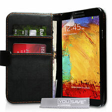 Samsung Galaxy Note 3 PU Leather Wallet Case Cover with Free Screen Protector