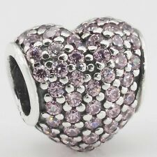 PINK CRYSTALS PAVE HEART  .925 Sterling Silver European Style Charm Bead