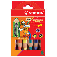 STABILO WOODY 3 in 1 SUPER JUMBO PENCILS WALLET OF 6 ASSORTED COLOURS