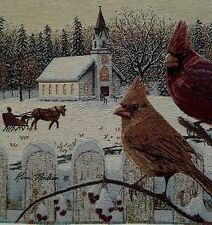 Winter Snow Cardinals Chapel w/ Sleigh Tapestry Pillow Top Fabric Panel Piece