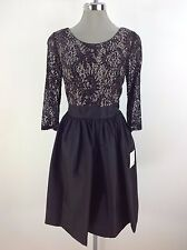 Calvin Klein New WT Black Dress Sequined Top 3/4 See Through Sleeves Size 4