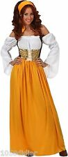 Costume SERVANTE Médiévale Orange XL 44 Déguisement Adulte Femme Paysanne