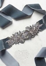 Anthropologie Ice Palace Jeweled Velvet Belt