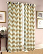 """Taupe Chevron Thermal 100% Sun Blackout Print Window Curtain Panel - 34"""" Wide"""