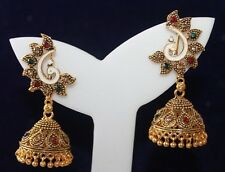 Peacock gold Indian Bollywood Women Jhumka Earring Ethnic Jewelry wedding party