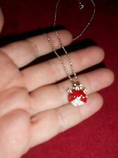 Genuine Swarovski Signed Lady Bug Pendant with silver tone chain and Swan logo