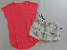 NWT Girls Old Navy Large 10-12 Pink Crochet Top & Flower Shorts Set